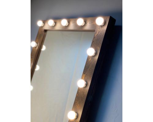 Коричневое гримерное зеркало с подсветкой по краям